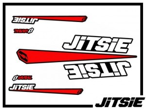 Rahmenaufklebersatz Jitsie - weiß/rot