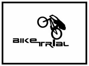 Aufkleber Bike Trial Logo - klein weiß