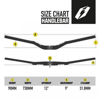 Lenker Jitsie Riser 73cm / 90mm - schwarz