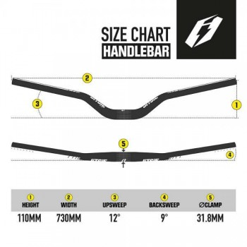 Lenker Jitsie High Riser 73cm / 110mm - schwarz