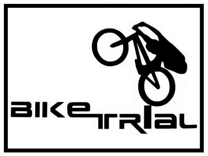 Aufkleber Bike Trial Logo - groß weiß