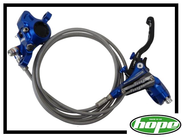 HR-Bremse Hope Tech 3 Trial PM Stahlflex - blau links
